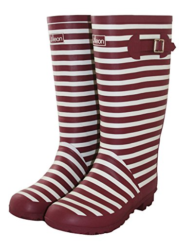 Jileon Wide Calf Rain Boots - Deep Red with White Stripes - Fit up to 18 Inch Calves