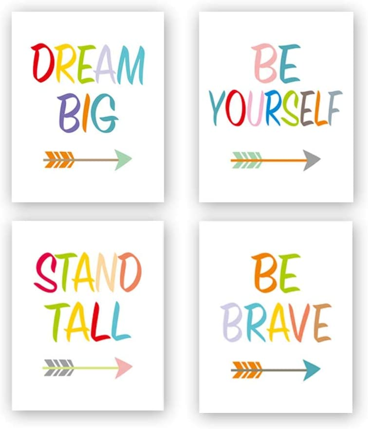 Inspirational Quote Be Brave& Dream Big Typography Art Painting Poster,Arrow Motivational Success Letterings Cardstock Art Print For Kids Room or Nursery Decor (set of 4, 8'' x 10'',Unframed)
