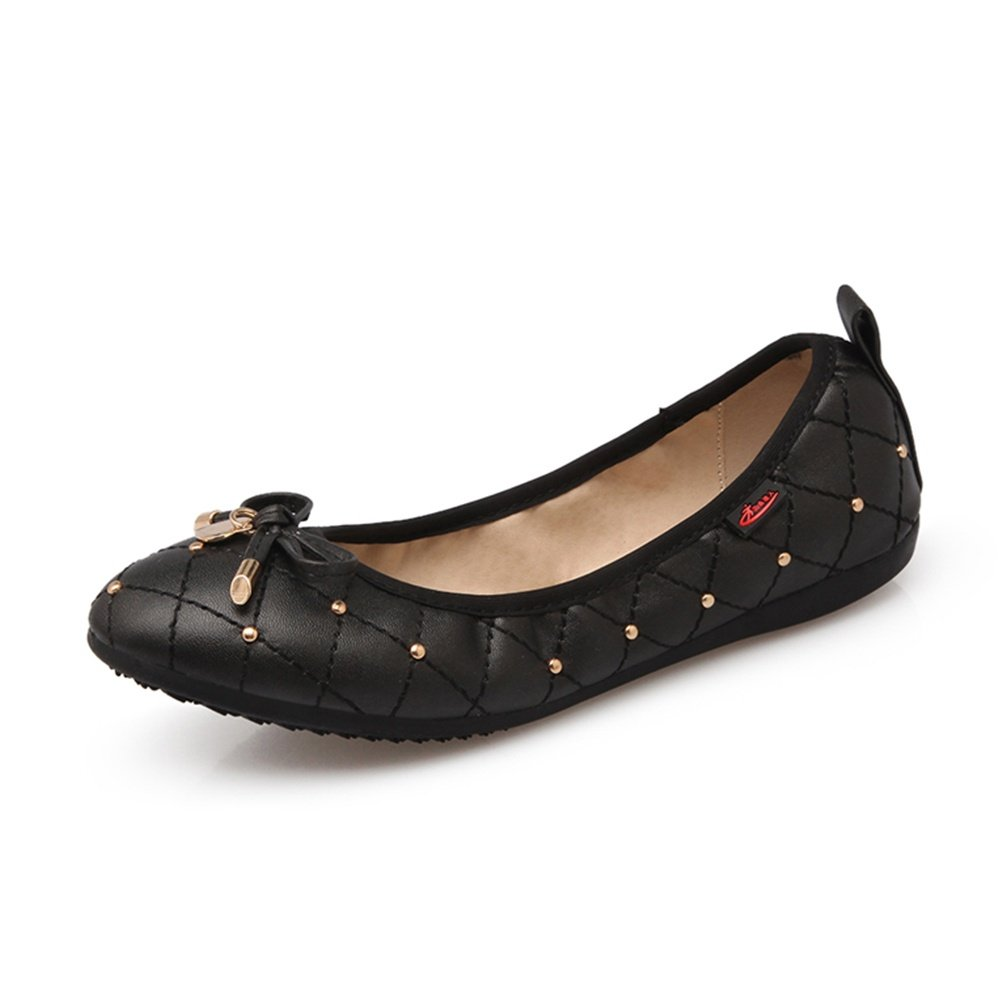 Meeshine Women's Foldable Ballet Flats Shoes Matching Carrying Bag Black 9 US