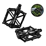 BASECAMP 1 pair of Pro Aluminum Alloy Bike Pedals Light Stable Robust Fashionable Safe Flat Platform for Road Mountain Bike Cycling Race Bicycle MTB Color Black