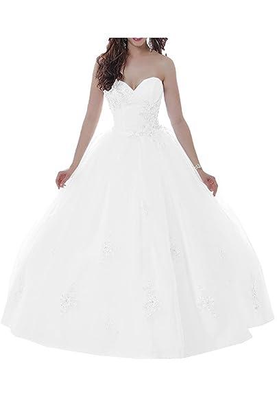 Gorgeous Bride apliques de encaje de novia vestido de boda Formal vestidos de novia de tul blanco: Amazon.es: Ropa y accesorios
