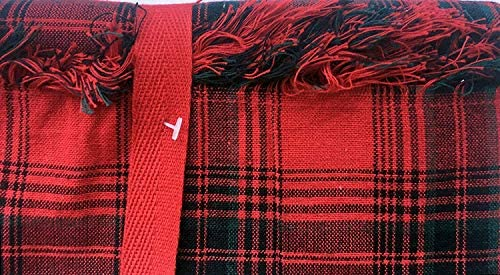 Ridgefield Home Fabric Cotton Christmas Holiday Scottish Plaid Tartan Pattern Tablecloth Set 10 Napkins Shades Red White Green 60 Inches x 120 Inches