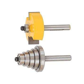 Rabbet Router Bit Fräser+6tlg Bearings Set 1//4/'/' Schaft für Holzbearbeitung