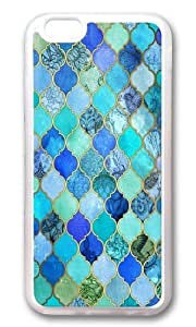 Apple Iphone 6 Case,Muyushiyuan Cute Cobalt Blue Aqua Gold Decorative Moroccan Tile Pattern Soft Case Protective Shell Cell Phone Cover For Apple Iphone 6 (4.7 Inch) - TPU Transparent