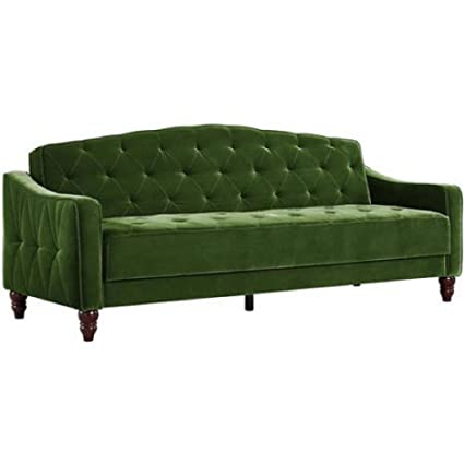 Amazon Com Novogratz Vintage Tufted Sofa Sleeper Ii Green Velour