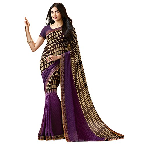 Sari Fashion New Eid Collection Indian/Pakistani Designer Ethnic Simple Look Saree Starwaik 31 (Purple)
