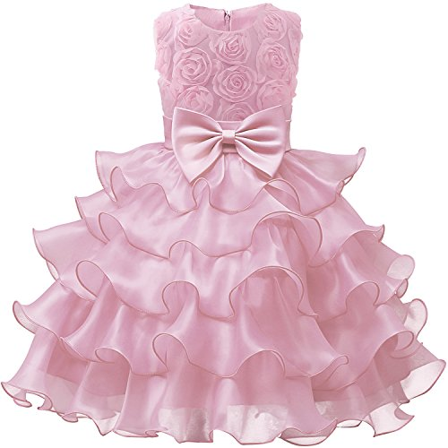 NNJXD Girl Dress Kids Ruffles Lace Party Wedding Dresses Size (110) 3-4 Years Flower Pink ()