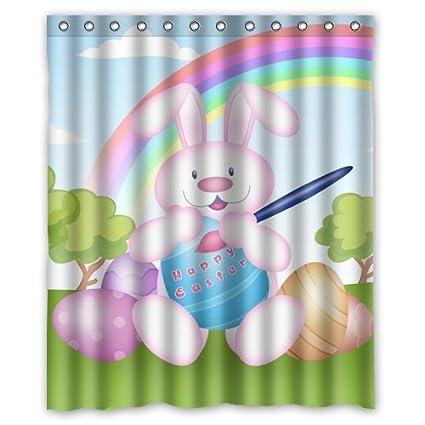 Happy Easter Bunny Custom Polyester Shower Curtain 60 X 72 Inch Bathroom