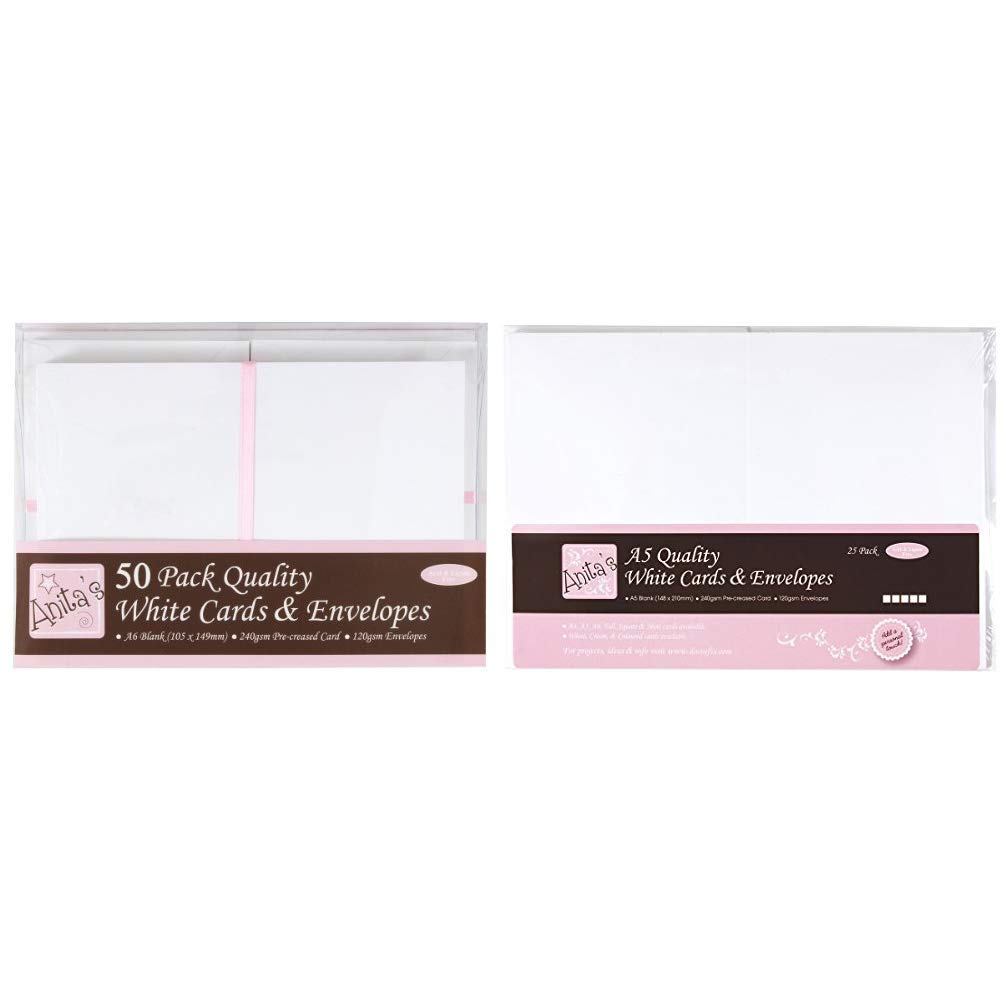 Transparent Anitas A6 Card and Envelope Pack of 50 White /&A6 Plastic Card Bag with 25 mm Lip Pack of 50