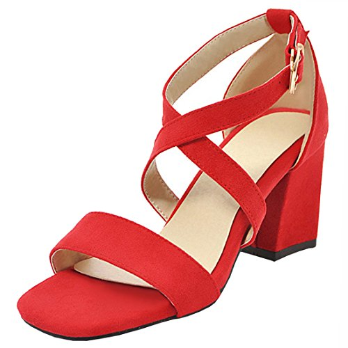 Pumps Women's Block Mary Strappy Sandals Heel High Shoes Summer Red Artfaerie Open Toe Party Janes 1qxwFgFB