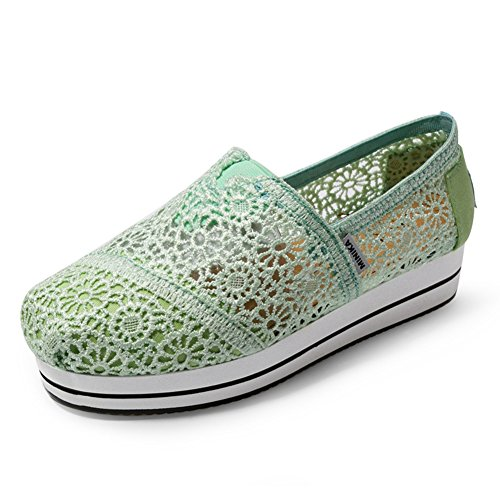 Womens Fashion Waking Shoes Lace Flat Slip On Breathable Thick Crust Sneakers By Btrada Green BXQr9p
