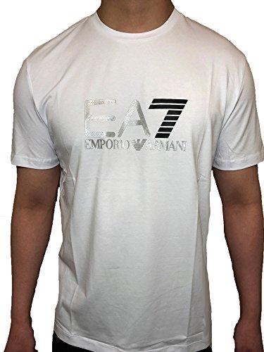 Emporio Armani White - Emporio Armani EA7 Silver Logo T-Shirt (XLarge, White)