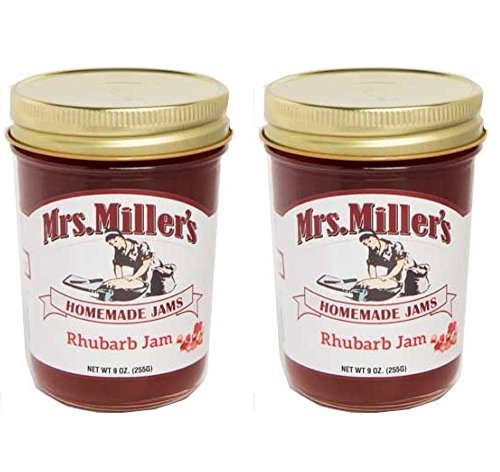Mrs. Miller's Homemade Jams Homemade RHUBARB Jam 9 Ounce - 2 Pack