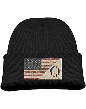 Q Anon Letter Q Patriotic American Flag Boy Girl Beanie Hat Knitted Beanie Knit Beanie
