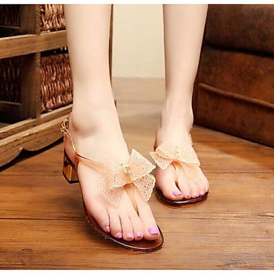 RUGAI-UE Verano Mujer sandalias de goma Casual zapatos de tacones de confort,Blanca,US6 / UE36 / UK4 / CN36 Almond