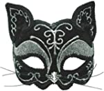 Black and Silver Decorative Cat Eye Mask