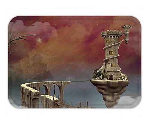 Tan Mist Towel (Minicoso Doormat Fantasy Decor Fairy Tale Medieval Castle High Clouds in Foggy Mist Air Magical Scenery Tan Coral Blue)