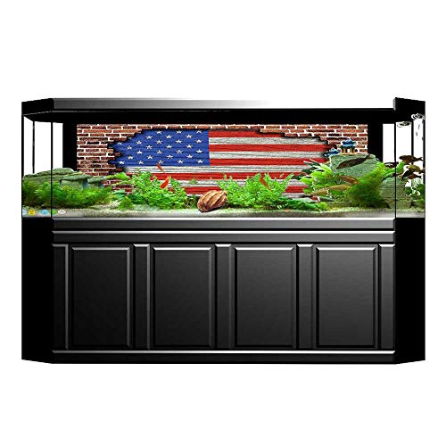 Wall Usa Boston (JiahongPan Fish Tank Backdrop Static Cling USA Fourth of July Independence Day and on Brick Block Wall Print Art Red Blue Brown PVC Decoration Paper Cling Decals Sticker L29.5 x H17.7)
