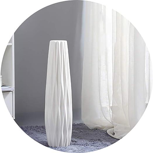 Vases White Floor Ceramic Simple Decorative Porch Decoration Sky-Dried Flower Arrangement