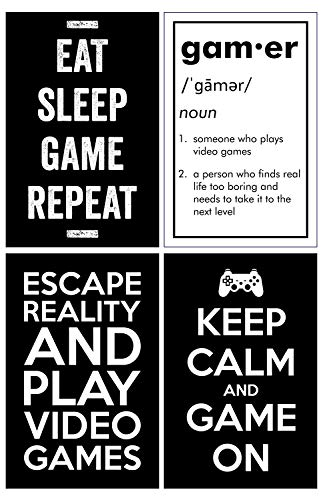 Gaming Posters, Set of 4, 11x17 Inches, Video Game Artwork, Gamer Wall Art, Boys Room Kids Print Black