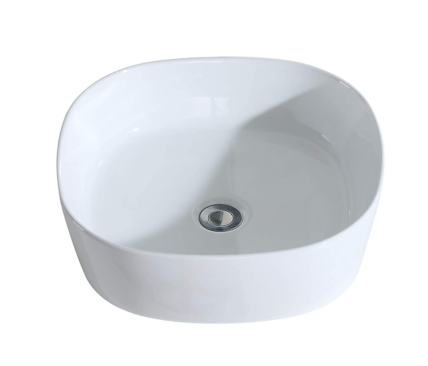 ERIDANUS Wash Basin Sink, [Series Julianne], Ceramic Vessel Sink with [Smooth Finish] Countertop Mounted [Easy Installation] for Lavatory Vanity Cabinet, Gloss White