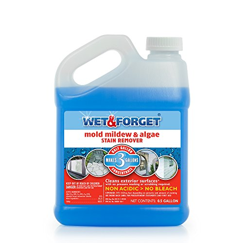 Wet & Forget No Scrub Outdoor Cleaner for Easy Removal of Mold, Mildew and Algae Stains, Bleach-Free Formula, .5 Gallon Concentrate - Makes 3 Gallons