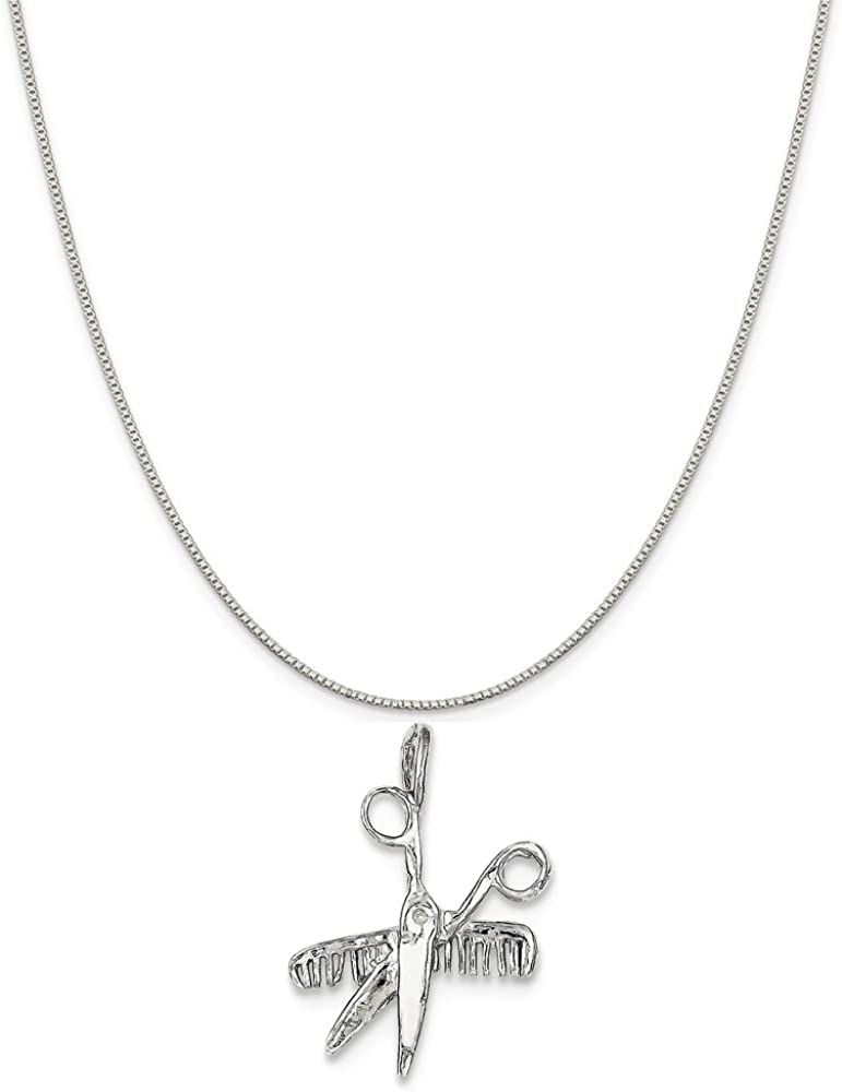 Mireval Sterling Silver Antiqued Unicorn Charm on a Sterling Silver Chain Necklace 16-20