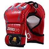 Zooboo 1 Pair PU Leather Half Finger Boxing Fighting Gloves...
