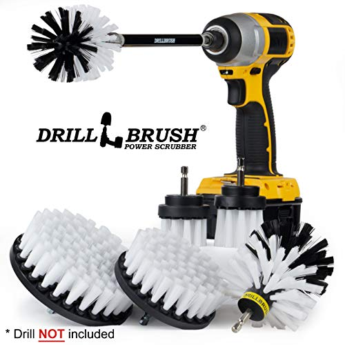 Drill Brush Ultimate Automotive Cleaning Kit With Extension - Truck Accessories - Glass, Upholstery, Seats, Window, Interior, Wheel, Carpet Cleaner - Car Mats - Spin Brush - Motorcycle Accessories ()