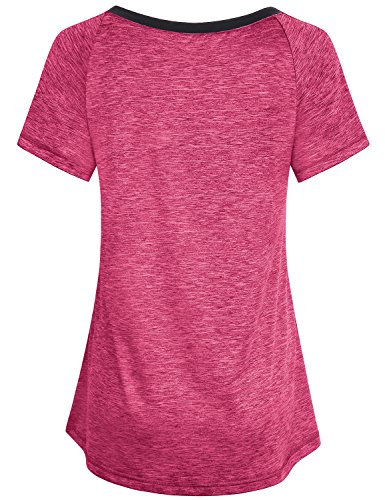 Miusey Workout Clothes for Women, Girls Quick Dry Shirts Short Raglan Sleeve V Neck Yoga Running Tunic Lightweight Top Casual Summer Hipster Fashion Primary Fitness Tees Red M by Miusey (Image #1)