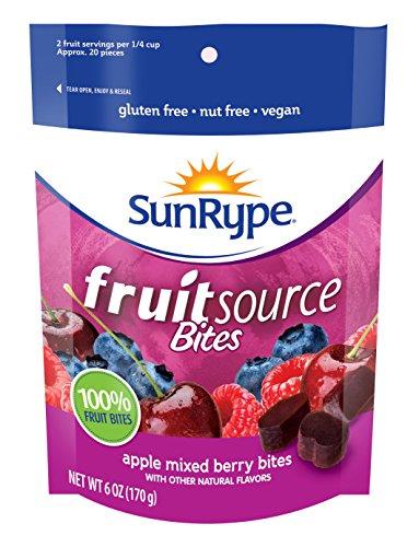 FruitSource Bites 100% Fruit (Case of 12) (Mixed Berry) - Vegan, Gluten-Free, Kosher, Peanut-Free