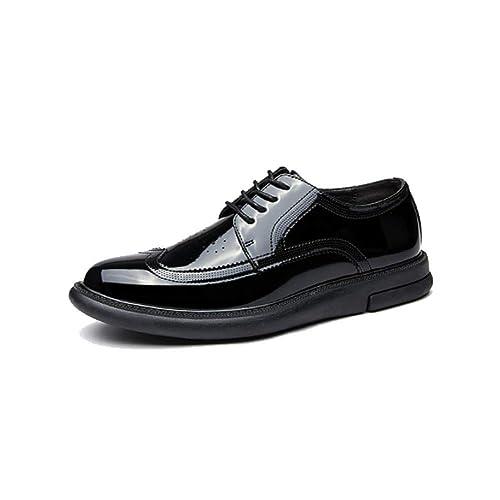 NIUMT Brock Plataforma Charol Zapatos Casuales Brillantes Versátiles De Los Hombres Cómodos Zapatos con Cordones: Amazon.es: Zapatos y complementos
