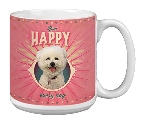 Bichon Frise Dog Art - Tree-Free Greetings Extra Large 20-Ounce Ceramic Coffee Mug, Poodle Of Happiness Themed Pet Lover Cute Dog Art (XM63162)