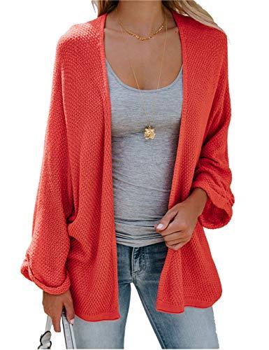 HYCYG Women's 3/4 Sleeve Open Front Knit Oversized Dolman Sleeve Cardigan Sweaters Orange M
