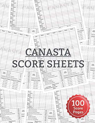 "Canasta Score Sheets: Scoring Pad for Canasta Card Game Game Record Keeper Notebook Point Reference on Scoring Pad Score Keeping Book | 8.5"" x 11"" - 100 Pages"