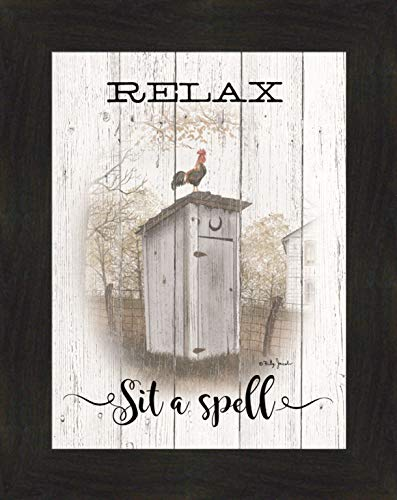 (Home Cabin Décor Relax - Sit A Spell by Billy Jacobs 16x20 Bathroom Outhouse Morning Commute Toilet Rustic Weathered White Sign Framed Art Print Picture)