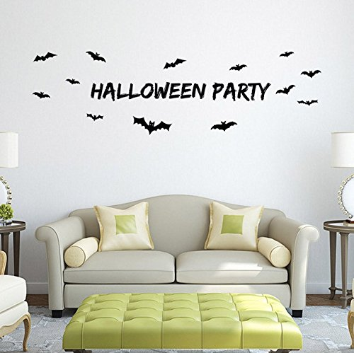 7 COLOR WINGS Happy Halloween Wall Sticker Window Home Decoration Decal Decor (F)