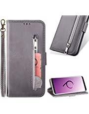 Zipper Wallet Case for Samsung Galaxy S9 Plus,Cistor Cowhide Leather Purse Flip Stand Soft Case with Card Holder Slots Wrist Strap Case Cover for Samsung Galaxy S9 Plus,Gray