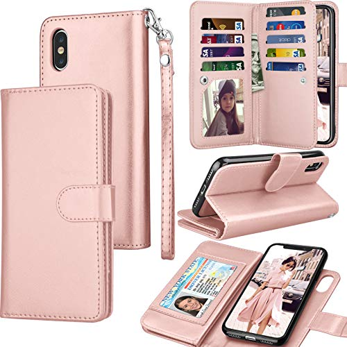 Tekcoo for iPhone Xs Max Wallet Case/iPhone Xs Max Flip Cover, 6.5 Luxury Cash ID Credit Card Slots Holder Purse Carrying PU Leather [Detachable Magnetic Hard Case] & Kickstand - Rose Gold