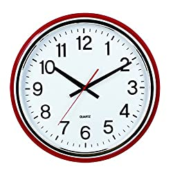 16-inch Large Easy to Read 3D Numerals Quartz Wall Clock Quiet Non-ticking Movement, Office, Home Decor, Classroom (W01449-1 Red)