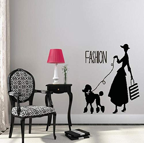 aizaixinli Wall Decals Black Stickers Women Poodle Fashion Wall Art Decoration Detachable Murals DIY 100 X 120Cm