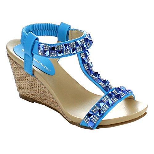 BELLAMARIE JENIFER-2 Women Rhinestone T-Strap Elastic Strap Slip On Wedge Sandal, Color:ICE BLUE, Size:6.5