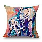Cheap Art Watercolor Elephant Cotton Cushion Sofa Home Decor Design Square 17.7 Inch Floral Popular Fashion Pillow Case (W-45-88146)