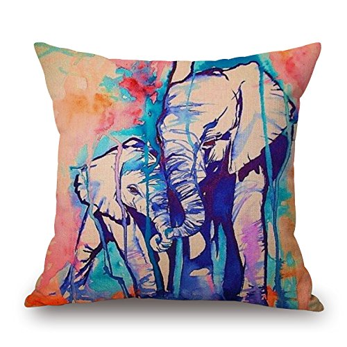 Cheap Art Watercolor Elephant Cotton Cushion Sofa Home Decor Design Square 17.7 Inch Floral Popular Fashion Pillow Case (W-45-88146)