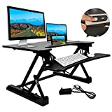 Electric Height Adjustable Standing Desk Converter with 36'' Wide Office Tabletop Workstation, Sit to Stand up Computer Platform Monitor Riser