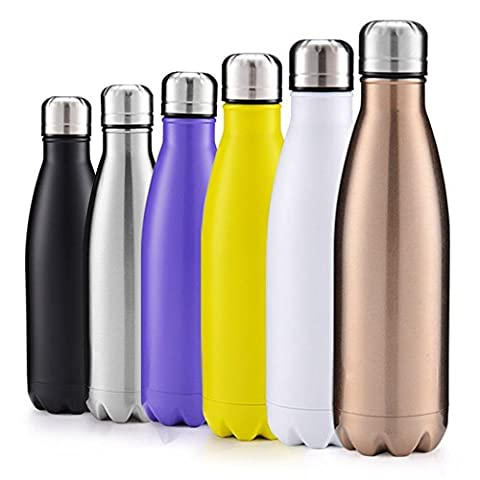 GABOSS 17oz Double Wall Vacuum Insulated Stainless Steel Water Bottle Perfect for Outdoor Sports Camping Hiking Cycling, with a Cleaning Brush for Free Gift (Bronze - Sports And Outdoors