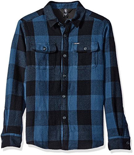 Volcom Boys' Big Boys' Enders Long Sleeve Flannel Youth, Airforce Blue, M