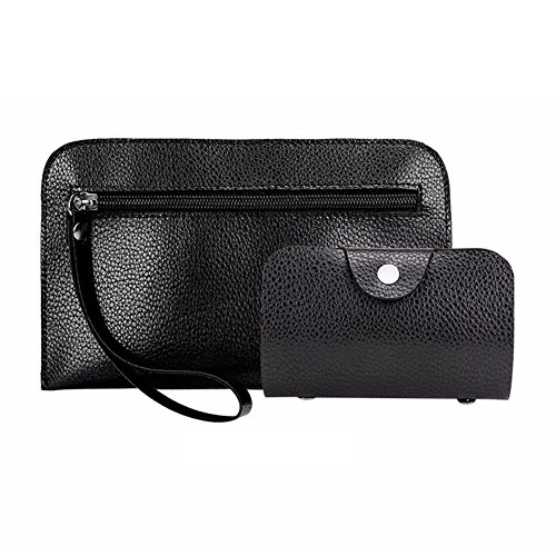Card Fashion Set Leather Color Black Purse Clutch Bag Handbag FeiyantyQ Solid Women Faux 2Pcs 7d7nqz