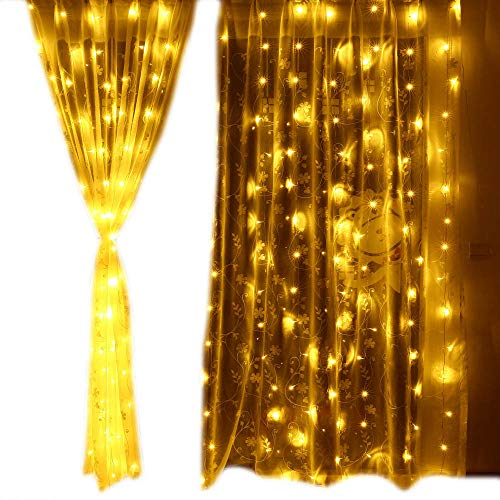 Lyhope Window Curtain Lights, Low Voltage Adapter 300 LED 8 Modes 9.8 ft x 9.8 ft String Lights for Indoor & Outdoor, Home, Wedding, Party, Garden, Wall Decoration (Warm White)