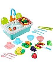 deAO 28-delige fantasie wasbak Aanrecht Speelset Inclusief snijspeelgoed, keukengerei, waterkraan en afvoer - geweldig voor kinderen